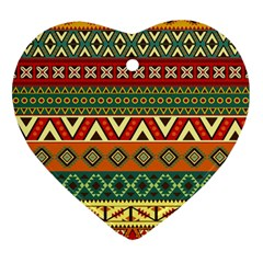 Mexican Folk Art Patterns Heart Ornament (Two Sides)