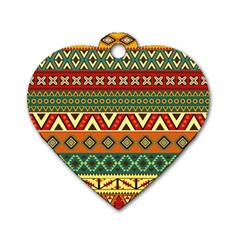 Mexican Folk Art Patterns Dog Tag Heart (two Sides)