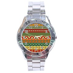 Mexican Folk Art Patterns Stainless Steel Analogue Watch