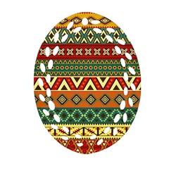 Mexican Folk Art Patterns Ornament (Oval Filigree)