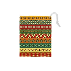 Mexican Folk Art Patterns Drawstring Pouches (Small)