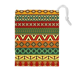 Mexican Folk Art Patterns Drawstring Pouches (Extra Large)