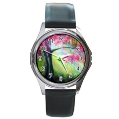 Forests Stunning Glimmer Paintings Sunlight Blooms Plants Love Seasons Traditional Art Flowers Sunsh Round Metal Watch