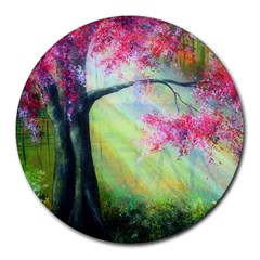 Forests Stunning Glimmer Paintings Sunlight Blooms Plants Love Seasons Traditional Art Flowers Sunsh Round Mousepads