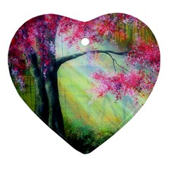 Forests Stunning Glimmer Paintings Sunlight Blooms Plants Love Seasons Traditional Art Flowers Sunsh Ornament (Heart)