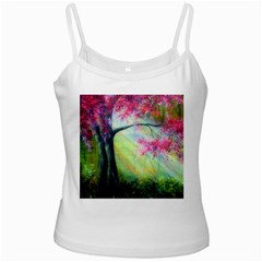 Forests Stunning Glimmer Paintings Sunlight Blooms Plants Love Seasons Traditional Art Flowers Sunsh White Spaghetti Tank