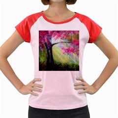 Forests Stunning Glimmer Paintings Sunlight Blooms Plants Love Seasons Traditional Art Flowers Sunsh Women s Cap Sleeve T Shirt