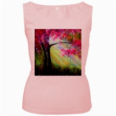 Forests Stunning Glimmer Paintings Sunlight Blooms Plants Love Seasons Traditional Art Flowers Sunsh Women s Pink Tank Top