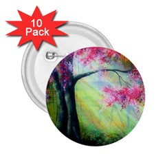 Forests Stunning Glimmer Paintings Sunlight Blooms Plants Love Seasons Traditional Art Flowers Sunsh 2 25  Buttons (10 Pack)