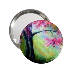 Forests Stunning Glimmer Paintings Sunlight Blooms Plants Love Seasons Traditional Art Flowers Sunsh 2.25  Handbag Mirrors