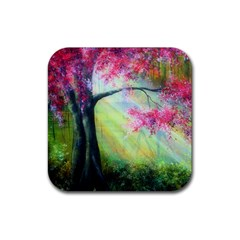 Forests Stunning Glimmer Paintings Sunlight Blooms Plants Love Seasons Traditional Art Flowers Sunsh Rubber Square Coaster (4 pack)