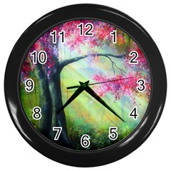 Forests Stunning Glimmer Paintings Sunlight Blooms Plants Love Seasons Traditional Art Flowers Sunsh Wall Clocks (Black)