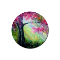 Forests Stunning Glimmer Paintings Sunlight Blooms Plants Love Seasons Traditional Art Flowers Sunsh Rubber Round Coaster (4 Pack)