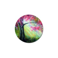 Forests Stunning Glimmer Paintings Sunlight Blooms Plants Love Seasons Traditional Art Flowers Sunsh Golf Ball Marker
