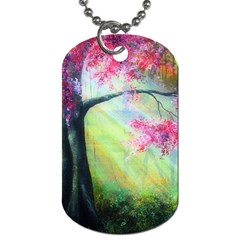 Forests Stunning Glimmer Paintings Sunlight Blooms Plants Love Seasons Traditional Art Flowers Sunsh Dog Tag (Two Sides)