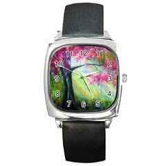 Forests Stunning Glimmer Paintings Sunlight Blooms Plants Love Seasons Traditional Art Flowers Sunsh Square Metal Watch