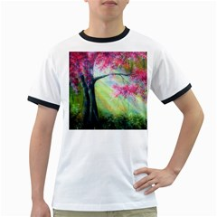 Forests Stunning Glimmer Paintings Sunlight Blooms Plants Love Seasons Traditional Art Flowers Sunsh Ringer T-Shirts