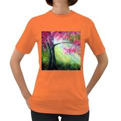 Forests Stunning Glimmer Paintings Sunlight Blooms Plants Love Seasons Traditional Art Flowers Sunsh Women s Dark T Shirt