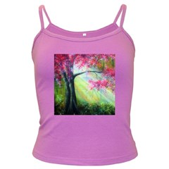 Forests Stunning Glimmer Paintings Sunlight Blooms Plants Love Seasons Traditional Art Flowers Sunsh Dark Spaghetti Tank