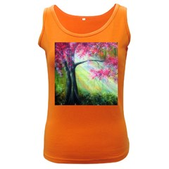 Forests Stunning Glimmer Paintings Sunlight Blooms Plants Love Seasons Traditional Art Flowers Sunsh Women s Dark Tank Top