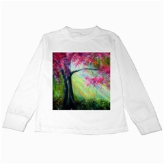 Forests Stunning Glimmer Paintings Sunlight Blooms Plants Love Seasons Traditional Art Flowers Sunsh Kids Long Sleeve T Shirts