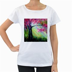 Forests Stunning Glimmer Paintings Sunlight Blooms Plants Love Seasons Traditional Art Flowers Sunsh Women s Loose Fit T Shirt (white)