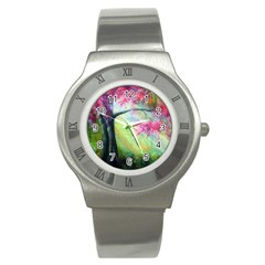 Forests Stunning Glimmer Paintings Sunlight Blooms Plants Love Seasons Traditional Art Flowers Sunsh Stainless Steel Watch