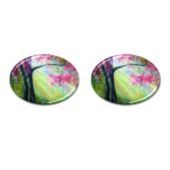 Forests Stunning Glimmer Paintings Sunlight Blooms Plants Love Seasons Traditional Art Flowers Sunsh Cufflinks (oval)