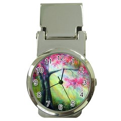 Forests Stunning Glimmer Paintings Sunlight Blooms Plants Love Seasons Traditional Art Flowers Sunsh Money Clip Watches