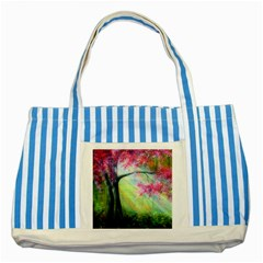 Forests Stunning Glimmer Paintings Sunlight Blooms Plants Love Seasons Traditional Art Flowers Sunsh Striped Blue Tote Bag
