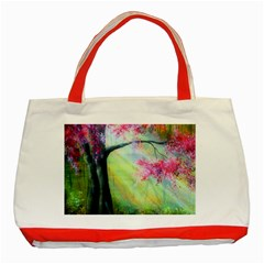 Forests Stunning Glimmer Paintings Sunlight Blooms Plants Love Seasons Traditional Art Flowers Sunsh Classic Tote Bag (red)