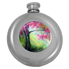 Forests Stunning Glimmer Paintings Sunlight Blooms Plants Love Seasons Traditional Art Flowers Sunsh Round Hip Flask (5 Oz)
