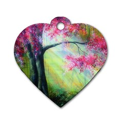 Forests Stunning Glimmer Paintings Sunlight Blooms Plants Love Seasons Traditional Art Flowers Sunsh Dog Tag Heart (two Sides)