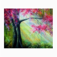 Forests Stunning Glimmer Paintings Sunlight Blooms Plants Love Seasons Traditional Art Flowers Sunsh Small Glasses Cloth (2 Side)