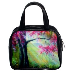 Forests Stunning Glimmer Paintings Sunlight Blooms Plants Love Seasons Traditional Art Flowers Sunsh Classic Handbags (2 Sides)