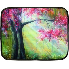 Forests Stunning Glimmer Paintings Sunlight Blooms Plants Love Seasons Traditional Art Flowers Sunsh Double Sided Fleece Blanket (mini)
