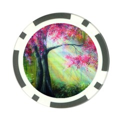 Forests Stunning Glimmer Paintings Sunlight Blooms Plants Love Seasons Traditional Art Flowers Sunsh Poker Chip Card Guard (10 Pack)