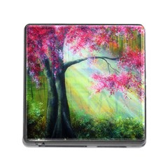 Forests Stunning Glimmer Paintings Sunlight Blooms Plants Love Seasons Traditional Art Flowers Sunsh Memory Card Reader (square)