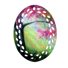 Forests Stunning Glimmer Paintings Sunlight Blooms Plants Love Seasons Traditional Art Flowers Sunsh Ornament (Oval Filigree)
