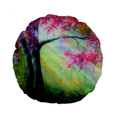 Forests Stunning Glimmer Paintings Sunlight Blooms Plants Love Seasons Traditional Art Flowers Sunsh Standard 15  Premium Round Cushions