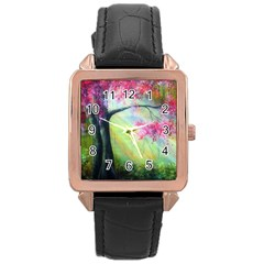Forests Stunning Glimmer Paintings Sunlight Blooms Plants Love Seasons Traditional Art Flowers Sunsh Rose Gold Leather Watch