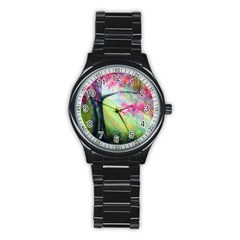 Forests Stunning Glimmer Paintings Sunlight Blooms Plants Love Seasons Traditional Art Flowers Sunsh Stainless Steel Round Watch
