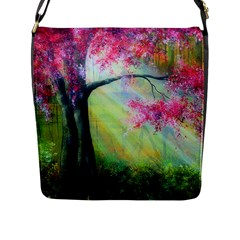 Forests Stunning Glimmer Paintings Sunlight Blooms Plants Love Seasons Traditional Art Flowers Sunsh Flap Messenger Bag (l)