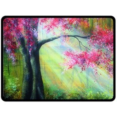 Forests Stunning Glimmer Paintings Sunlight Blooms Plants Love Seasons Traditional Art Flowers Sunsh Double Sided Fleece Blanket (large)