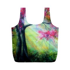 Forests Stunning Glimmer Paintings Sunlight Blooms Plants Love Seasons Traditional Art Flowers Sunsh Full Print Recycle Bags (M)