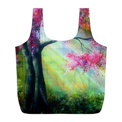 Forests Stunning Glimmer Paintings Sunlight Blooms Plants Love Seasons Traditional Art Flowers Sunsh Full Print Recycle Bags (l)