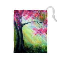 Forests Stunning Glimmer Paintings Sunlight Blooms Plants Love Seasons Traditional Art Flowers Sunsh Drawstring Pouches (large)