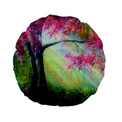 Forests Stunning Glimmer Paintings Sunlight Blooms Plants Love Seasons Traditional Art Flowers Sunsh Standard 15  Premium Flano Round Cushions