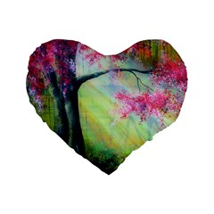 Forests Stunning Glimmer Paintings Sunlight Blooms Plants Love Seasons Traditional Art Flowers Sunsh Standard 16  Premium Flano Heart Shape Cushions