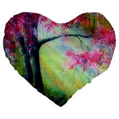Forests Stunning Glimmer Paintings Sunlight Blooms Plants Love Seasons Traditional Art Flowers Sunsh Large 19  Premium Flano Heart Shape Cushions